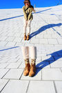 Green-topshop-top-beige-zara-pants-gold-topshop-socks-orange-topshop-boots