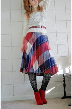 wool skirt - red platform Charlotte Russe boots - white turtleneck sweater
