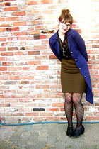 navy thrifted vintage jacket - Nordstrom tights - army green thrifted skirt - bl