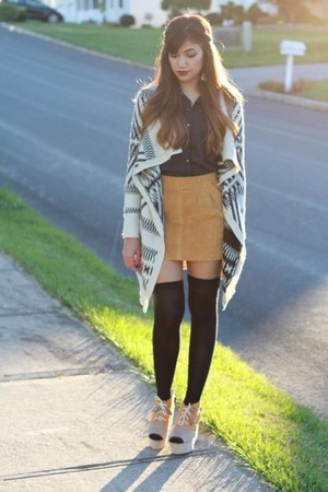 H&M top - Aeropostale cardigan - Forever 21 skirt - H&M wedges