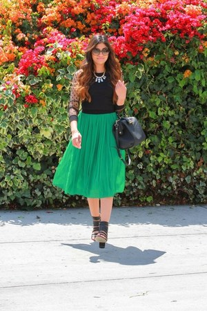 green H&M skirt - rachel roy bag - Forever 21 sandals - Forever 21 top