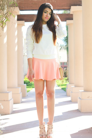 nude Rebecca Minkoff bag - coral Forever 21 skirt - nude BCBGeneration heels