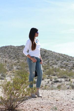 blue Aeropostale jeans - nude H&M boots - black rachel roy bag