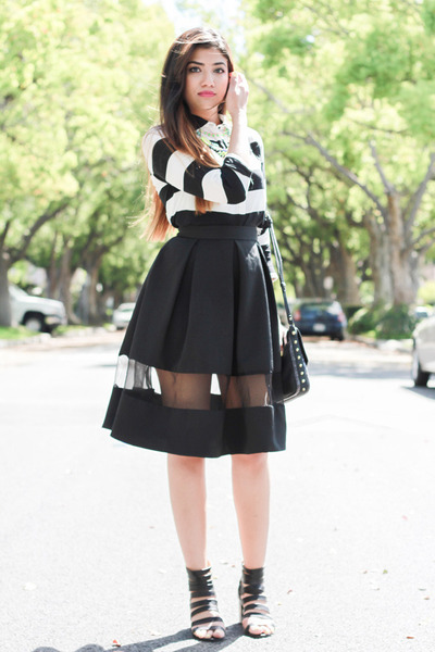 black Express skirt - black Forever 21 shoes - white Forever 21 shirt
