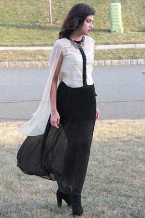 black Forever 21 skirt - black Agaci boots - cream asoscom blouse