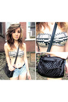 studded black romwe bag - tribal Forever 21 top