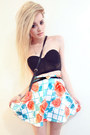 Rose-print-romwe-skirt-forever-21-belt