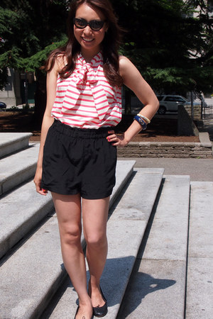 black wilfred shorts - J Crew blouse - black Bloch flats