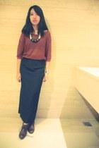 ivory Mazee necklace - dark brown boots - burnt orange knit Morning Dew jumper