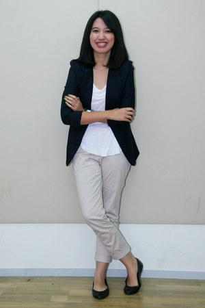navy unbranded blazer - white Forever 21 shirt - dark khaki Zara pants