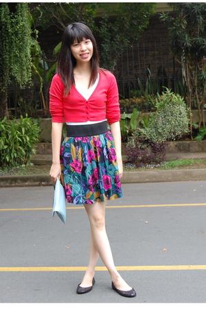 red Zara cardigan - thrifted skirt - black Steve Madden shoes
