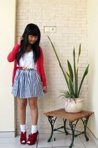 red Zara cardigan - black Forever 21 skirt - white socks - red shoes - white top