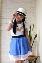 hat - blue skirt - white Zara t-shirt - black