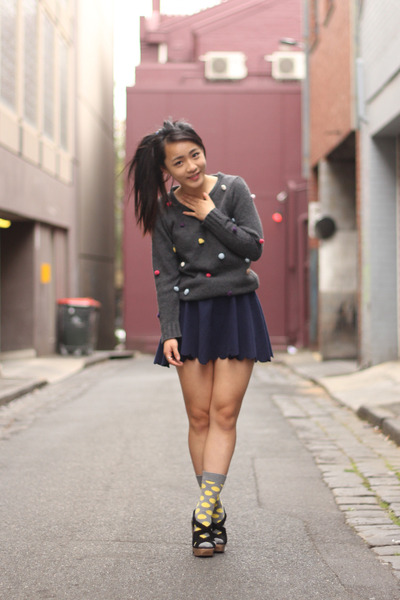 gray sweater - yellow Happy Socks socks - navy scalloped skirt skirt