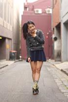 gray sweater - yellow Happy Socks socks - navy scalloped skirt skirt