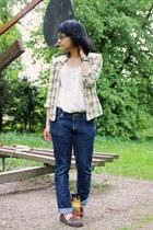 dark brown moccasins studio nine shoes - white H&M dress - navy Bare Denim jeans