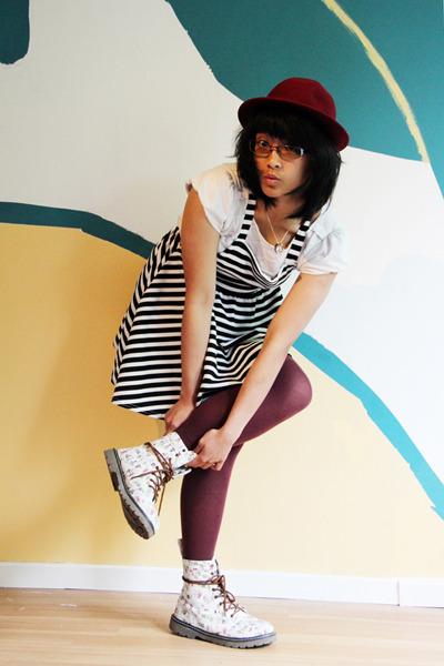 cute pattern golddigga boots - pinafore asos dress - vintage hat - falke tights