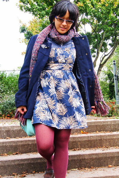 denim expand top - arithalia dress - Primark coat - pieces scarf
