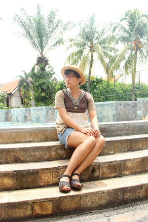 nude boater Urban Outfitters hat - sky blue denim Secondhand shorts