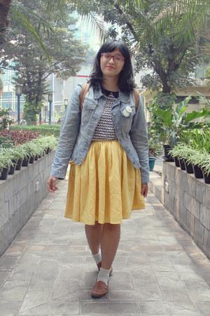 light yellow chiffon May & June skirt - sky blue denim thrifted jacket