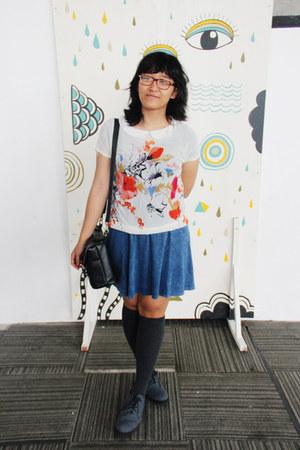 gray overknee socks - heather gray ankle MKS boots - sky blue denim H&M dress