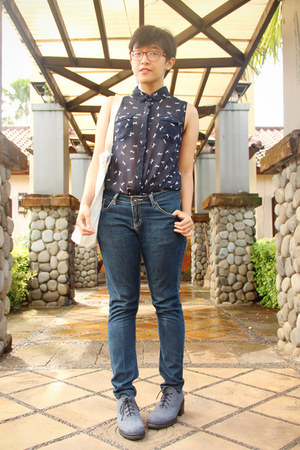navy Bare Denim jeans - heather gray ankle MKS boots