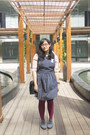 Heather-gray-chunky-mks-shoes-black-pinafore-thrifted-dress