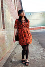Burnt-orange-batik-local-dress-dark-brown-h-m-leggings