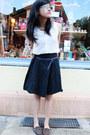 White-thrifted-h-m-shirt-black-polkadot-thrifted-skirt