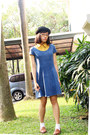 Navy-denim-h-m-dress-black-kitty-c-a-hat-mustard-chiffon-thrifted-shirt