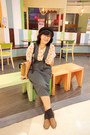 Black-kitty-c-a-hat-mustard-shoulder-ebay-purse-dark-gray-floral-h-m-socks