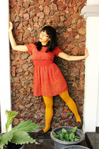 carrot orange Primark dress - mustard H&M tights