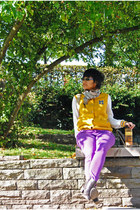 yellow varsity 1982 jacket - dark brown chelsea Deichmann boots