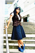 thrifted boots - thrifted vest - flea market skirt - deviantWEAR t-shirt