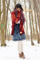 backpack bag - vintage boots - Hudson tights - Esprit skirt - c&a cardigan