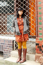 brown thrifted boots - burnt orange batik dress - heather gray AKO jacket
