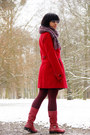 Red-leather-secondhand-boots-dark-brown-batik-hand-me-down-dress