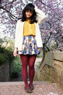 Yellow-chiffon-thrifted-shirt-magenta-falke-tights