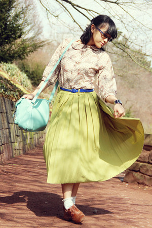 brown brogues Primark shoes - aquamarine satchel Typo bag