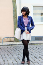 red striped H&M dress - navy H&M blazer - black MyHudson tights - ivory bag