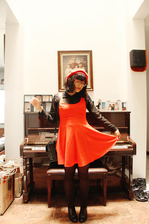 black brogues Fioni shoes - carrot orange asos dress