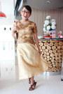 Gold-kebaya-custom-made-dress-camel-purse-brown-t-strap-sandals