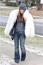 mongolian fur vintage coat