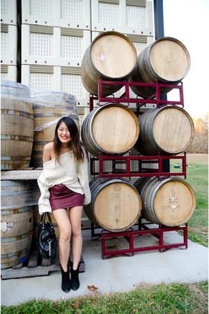 oxblood H&M skirt