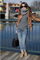 leather jacket Muubaa jacket - suede Aldo boots - Current Elliot jeans