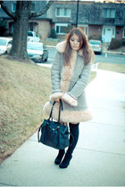 Charles David boots - shearling vintage coat - dressy H&M top