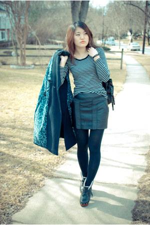 Jeffrey Campbell boots - H&M coat - striped Target shirt - H&M skirt