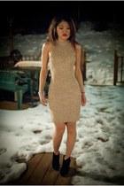 black Jessica Simpson boots - lace vintage dress
