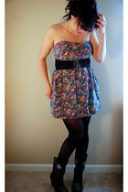 blue Wet Seal dress - black no clue boots