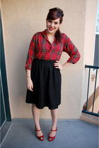 red thrifted top - black banana republic skirt - red Steve Madden shoes